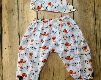 Handmade baby boy trousers, lightweight fabric for summer, dribble bib, button detail