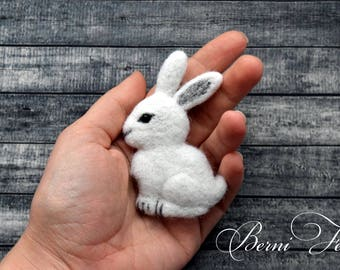 MADE TO ORDER Hare Brooch, White Rabbit Pin