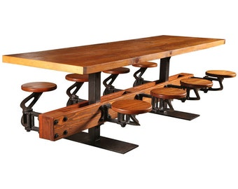 Swing out Seat Dining Table with Cast Iron Attached, Hanging, Floating Seats and Wood, Steel, or Glass Top