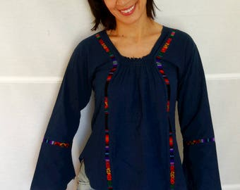 Long sleeved Mexican blouse vintage bell sleeve blouse ethnic cotton loose blouse embroidered blue bohemian shirt hippie vintage 70s XS - S