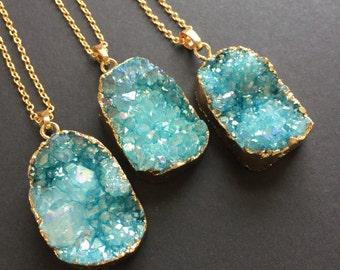 Blue Druzy Pendant, Angel Aura, Druzy necklace, Blue sparkle, Aqua, Turquoise, Gold necklace, Raw crystal, Natural stone