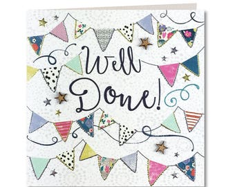 New Chroma Collection - Well Done Card - Well Done - Congratulations - Bunting - Hand finished Greeting Card - CH67