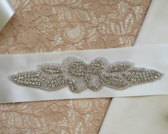 Bridal Wedding Sash - Appliqué Sash - Ribbon - Diamanté Sash - Winter Wedding - Vintage Look - 1920's - 1930's