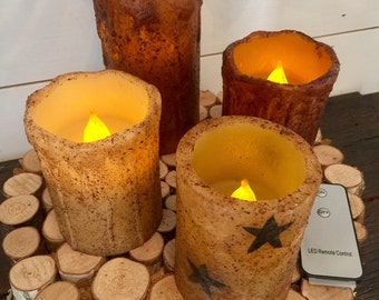 Pillar candle, rustic candle, grungy candle, flameless candle, patriotic decor, timer candle, remote control candle, gift, primitive candle
