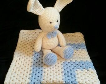 Baby Blanket Crochet | Baby Shower Gift | Stroller Blanket | Baby Boy Blanket | Granny Square Blanket | Cream Blue | Pram Blanket | Crochet