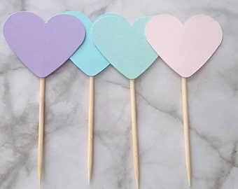 Pastel Heart Cupcake Toppers 12CT