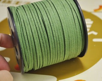 20yard 2.5mm Flat Faux Suede Leather Cord,Green Leather String Cord,Faux Suede Lace,Vegan Suede Cord,bracelet/necklace cord Supplies