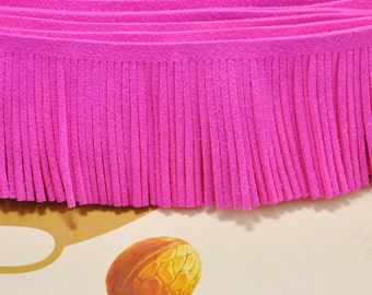 1 yard Leather Fringe Trim,48mm Width Faux Suede Fringe Trim bright pink,Perfect for Making Tassels and other crafts,Tassel pendant.