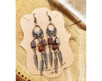 Wooden Jasper Dreamcatcher Earrings
