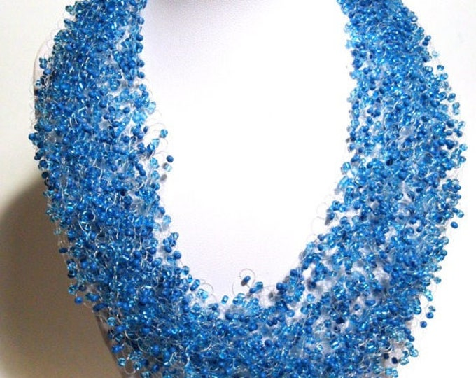 Sky blue crochet airy necklace cobweb multistrand statement necklace gift for her gift idea bridesmaid casual unusual jewelry beaded bright