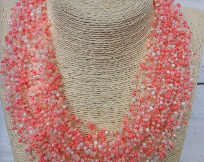 Peach beige gentle necklace airy crochet everyday bright multistrand statement unusual cobweb casual romantic wedding bridesmaid seed bead