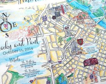 Watercolor Wedding Maps, Hand Painted Guest Map, Custom Wedding Maps, Minneapolis Personalized Wedding Maps, Hand Drawn Custom ART FEE ONLY