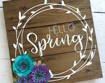 Hello Spring- Wood Sign- home decor- flowers- purple and teal- rustic decor- country decor- wall decor- spring