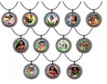 12x Moana Party Favor Bottlecap Necklaces