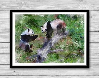 Two Pandas Print Wall Art, Cute Pandas Poster, Animal Wall Art, Panda Kinds Room, Nursery decor, Panda Bear Print, Cotton Canvas print