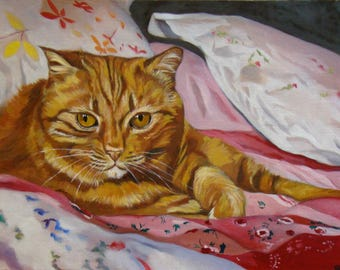Big Daddy, Portrait of a red cat, Original Oil Painting by Anne Zamo