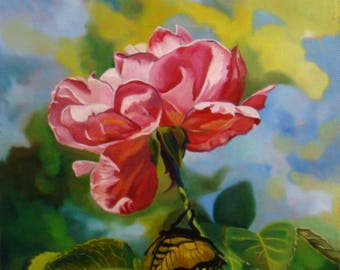 The acrobat, rose painting, Original Oil Painting by Anne Zamo