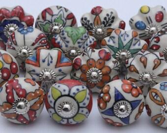 Mixed Muticolor Dotted Ceramic Door Knobs Handpainted Ceramic Knobs Kitchen Cabinet Drawer Knobs Ceramic Pumpkin Knobs