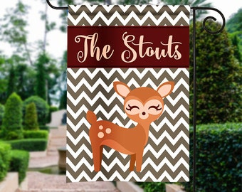 Personalized Garden Flag - Bambi Fall - Winter Flag Monogrammed 12 by 18  Yard Flag Best Selling Gifts For Her Home Decor