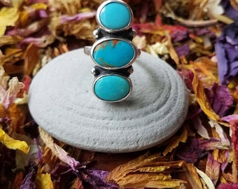 Triple Turquoise statement ring- size 7