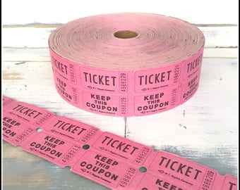 Pink Raffle Tickets  - (30) Vintage Tickets - Pink Double Raffle Carnival Party Tickets