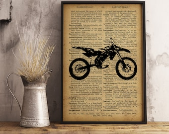 Motorbike Illustration,  Art Poster, Vintage Motorbike Dictionary Page Poster , Cotton Canvas Print, Boy Nursery Decor, Motorbike (M05)