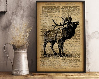 Stag Print, Forest Animal Poster, Deer illustration vintage style, Stag wall art, Stag poster, husband gift, father gift, Gift for men   A17