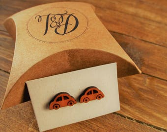 Car Earrings with Sterling Silver Post//Laser Cut Wood