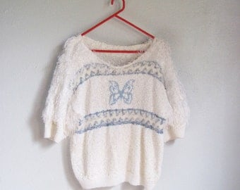 VINTAGE Cute Kitsch Fuzzy Butterfly White Wide Neck Knitted Top / Sweater - size M