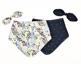 Set of Two Bibdanas - Floral and Navy Polka Dots