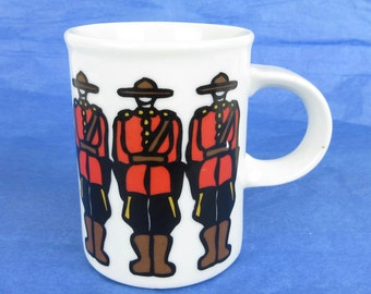 Vintage 1980s Canadian Mountie Mug, Marc Tetro Designs