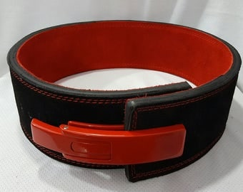 LGS Suede 10mm Red & White Satisfying Weightlifting Belt / Gives You Fame