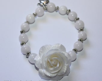 Bracelet, Pink White Pearl bridal bracelet, semi-precious stones. Special gift for a special woman.