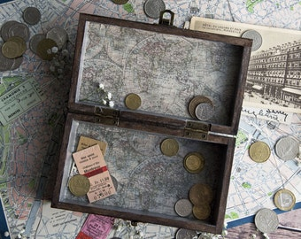 World In A Box / Box / World Map / Globe Trotter / Trinket Box / Wooden Box / Dark Wood / Jewellery Box