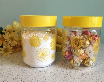 Corning Yellow Daisy Glass Canister - Set of 2