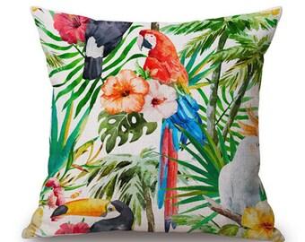 Housse de coussin déco toile de lin et coton beige JUNGLE | Design d'intérieur |Salon & Chambre|  Décoration tropicale |  Palmier perroquet