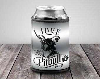 I Love My Pitt Cozie, Pitt Bull Neoprene Cooler, Pet Inspired Kozie, Pet Lover Can Cooler, Cooler for Pet Lovers, Dog Cozie, Pet Cozie