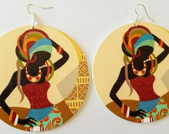 African earrings, African Jewelry, Large earrings, Africa shaped earrings, Ethnic Jewelry, Wooden earrings, Big earrings, African queen