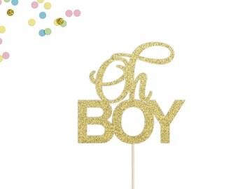 Oh Boy Cake Topper   Baby Shower Cake Topper   It's A Boy   Baby Boy Cake Topper   Welcome Baby Cake Topper   Gold Glitter Cake Topper