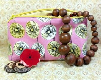 Summer Makeup Bag, Retro makeup bag, flower makeup bag, pink makeup bag, makeup bag, sunflower makeup bag, vintage makeup Bag, Easter Bag
