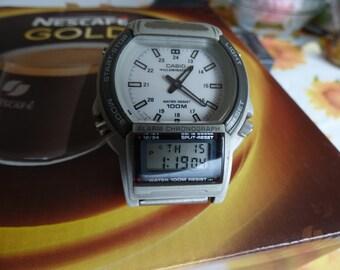 "retro rare analog digital alarm chronograph man,s WATCH""CASIO""AW-61"