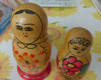 vintage wooden Matrioska Russian Doll2+4,6 pieces Be unique with your gift