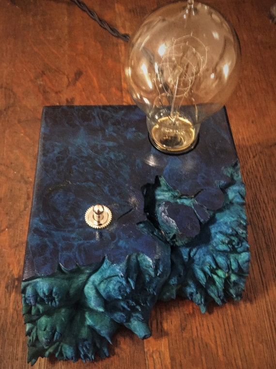 Live Edge Dyed Blue Maple Burl Wood Block Desk Lamp. Edison Bulb and heavy duty On/Off switch. Industrial