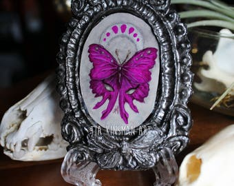 The Eyes Have It Moth Original Tiny Cameo Painting