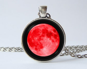 Red moon necklace Full moon jewelry Lunar pendant Outer space Moon jewellery Pendant moon Galaxy jewelry Solar system Universe Moon gift