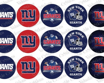 "New York Giants Bottlecap Images, 1"" Circle Images, 4x6 Collage Sheet, 15 Football Images, Craft Graphics, Football, Craft Supplies"
