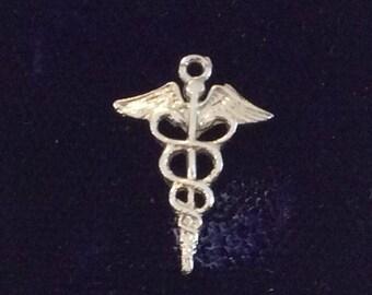 Sterling silver caduceus sign of medicine charm vintage # 1112