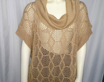 XL Knit Tunic/Beige Cover- Up/  Knit BeigeTop/Long Womens Top/Cowl Neck Summer  Sweater/Beige Womens Tunic/90's Cover -Up/Nr.230