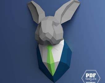 Bunny Papercraft, Rabbit Trophy Head, Hare in a Suit, (Digital pattern), DIY Easter, Bunny Origami, DIY Paper Rabbit, DIY Wall Mount