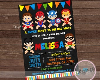Super Hero Baby Shower Invitation, Superheroe Baby Shower Invitation, Superheroes Baby Shower Chalk, Super Hero Invitation, Digital File